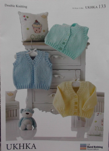 UKHKA 133 KNITTING PATTERN BABY CHILD TANK TOP & CARDIGAN